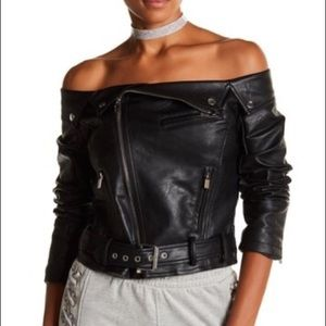 Unique Off-Shoulder Vegan Leather Jacket